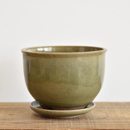 伝市鉢5寸コウロ型/受け皿付き【取り置き専用】