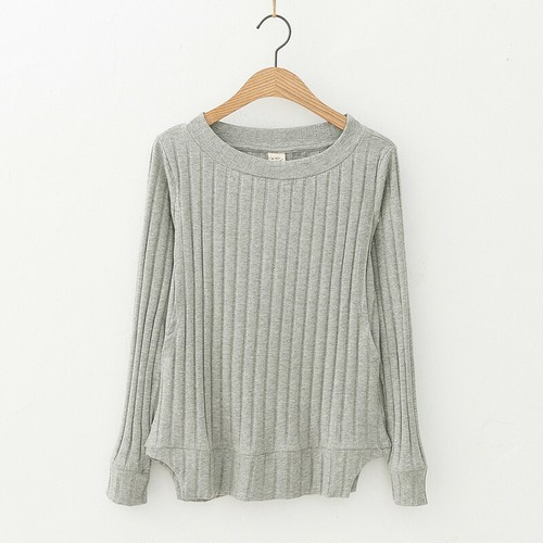 【注文商品】【マタニティー】Maternity Tops Cotton Sweater Nursing 【Gray】