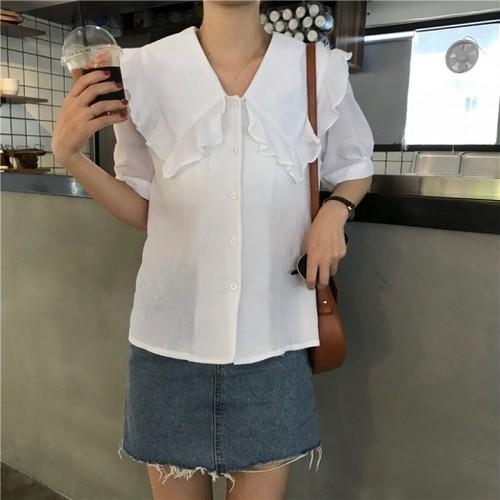 【送料無料】【2色】大きめ襟が可愛い フリル カットホワイト ブラウス 半袖 無地 夏