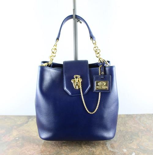 PELLE BORSA CHAIN DESIGN LEATHER HAND BAG/ペレボルサレザーチェーンデザインハンドバッグ