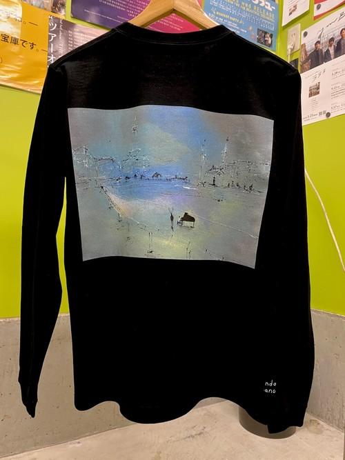 【長袖Tシャツ】近藤康平作イラストバック&袖口にクレジットプリント【黒】