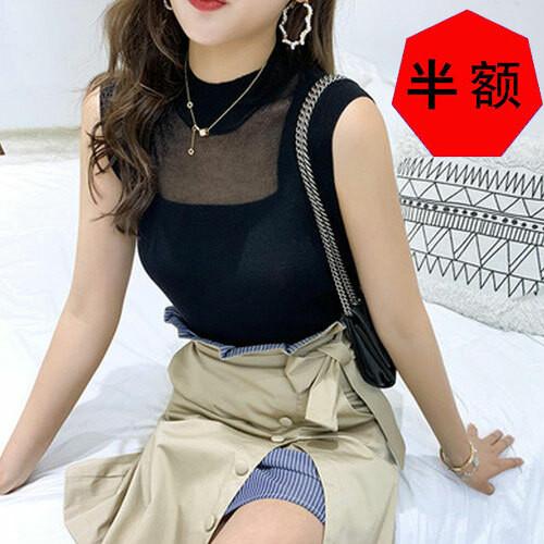 「トップス」ファッションシンプルノースリーブニット6色合わせやすいフェミニンOLtシャツ21450976