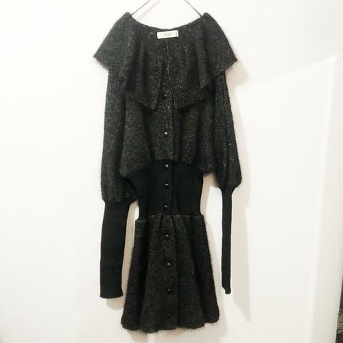 frill collar knit dress