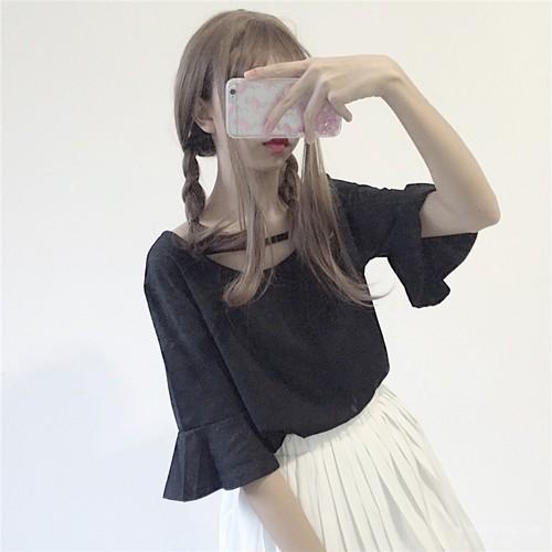 【トップス】シンプルスウィート夏スピーカースリーブ五分袖Tシャツ