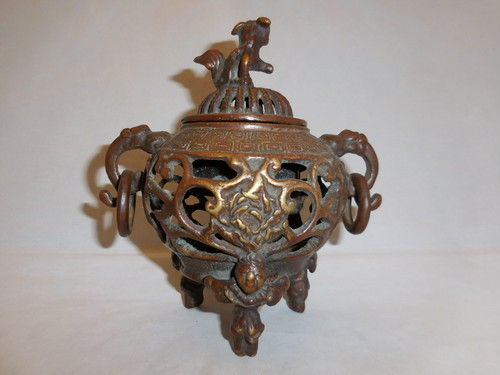 銅透かし香炉 copper incense burner