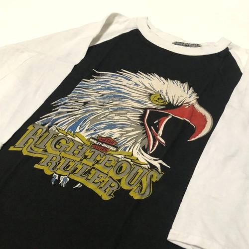 70's Mahagamage ハーレーダビッドソン イーグルプリント 黒×白 ツートン アメリカ製 七分袖 T-Shirts DEAD STOCK(M)
