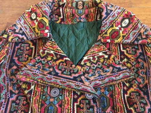 ビンテージ ゴブラン織り 柄物 コート 60s 70s 希少 レア
