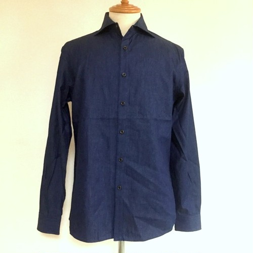 Light OZ Denim Horizontal Wide Collar Shirts Deep Indigo
