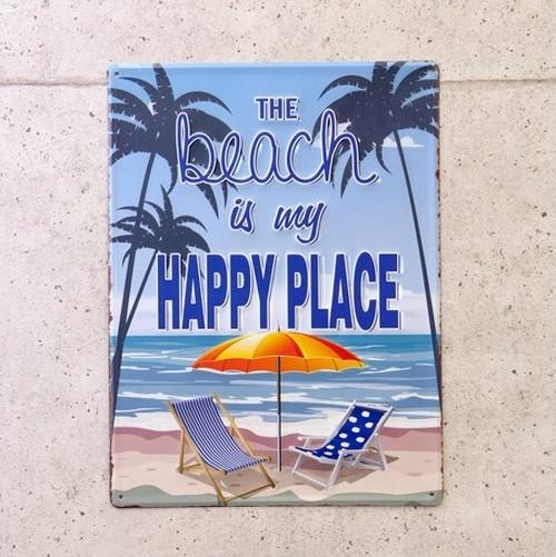 ★!!期間限定OFF!!★アンティークエンボスプレート[HAPPY PLACE Beach]