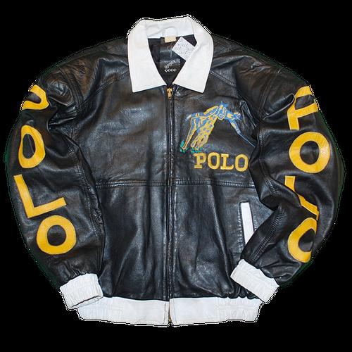 """Bootleg Polo"" Vintage Leather Jacket Used"