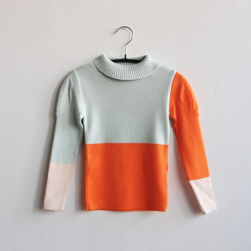 《frankygrow 2020AW》MULTI COLOR SWELL SHOULDER HIGH-NECK KNIT / mint × orange × pink / S・M・L
