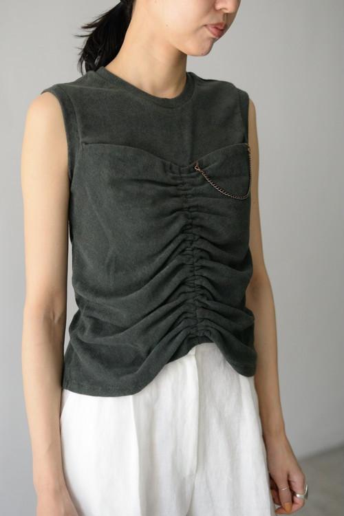 YOHEI OHNO / front shirring sleeveless pile top (charcoal)