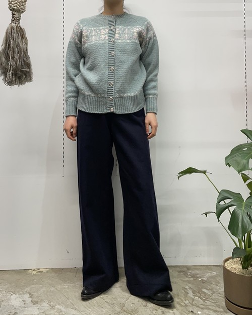 PITLOCHRY MADE IN SCOTLAND nordic wool knit cardigan 【40】