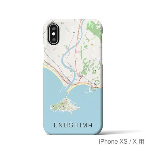 【江ノ島】地図柄iPhoneケース(バックカバータイプ・ナチュラル)