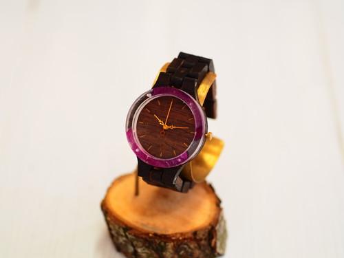 銘木黒檀の押花薔薇の腕時計