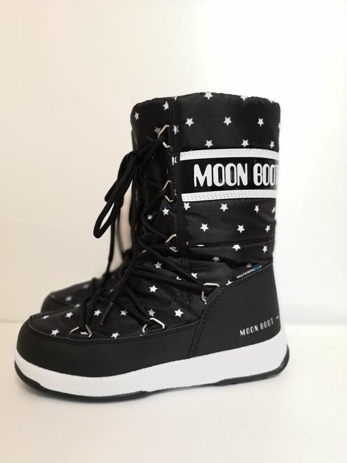 MOONBOOT(ムーンブーツ)W.E.JR GIRL QUILTED STAR WP ウォータープルーフ 星 ブラック×ホワイト
