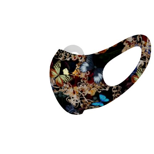華と蝶Black 和柄ファッションマスク Sサイズ