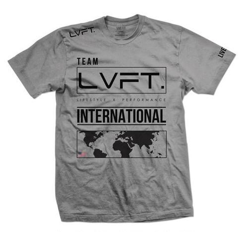 LIVE FIT.リブフィット International Tee  (Tシャツ)【Heather Grey/Black】メーカー直輸入品!