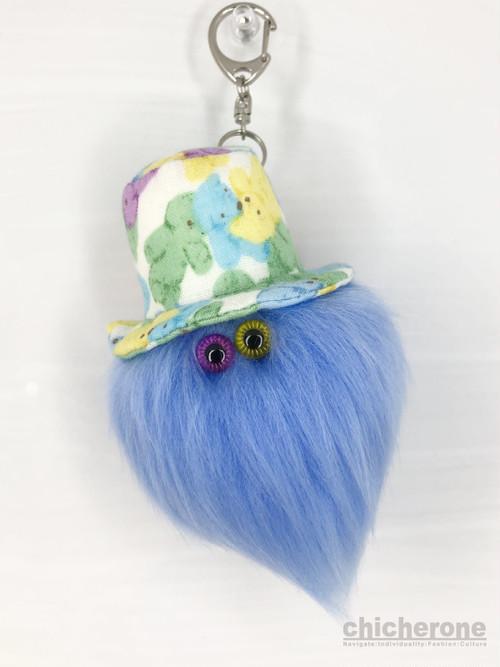 【MAMEDENQ】モコモコノコ  テディベア柄HAT×ペールブルー