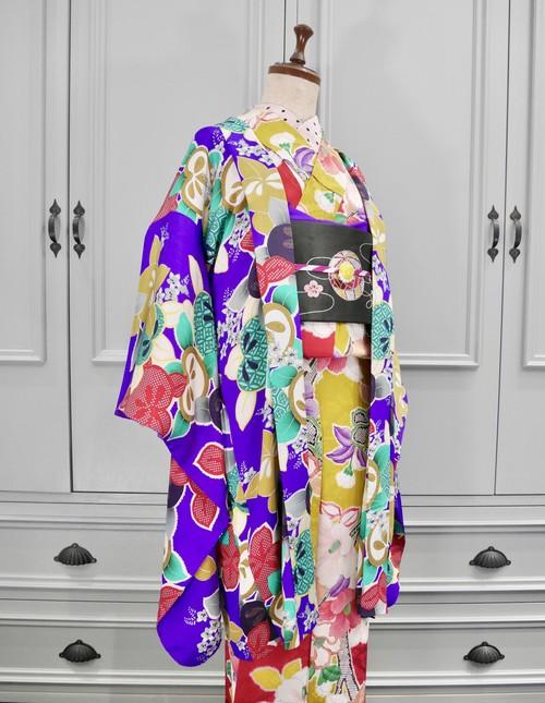紫に色とりどりの橘 アンティーク長羽織 0221