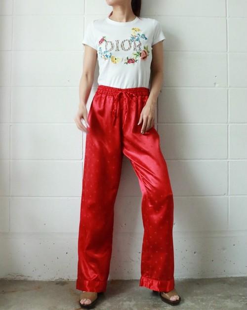 90's red satin easy ribbon pants