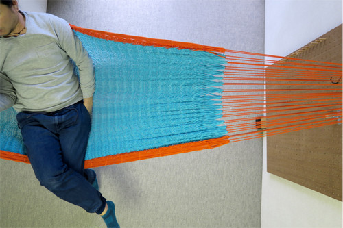 "ハンモック  ""Bed-mock""  ( Turquoise blue × Orange line )    Size-S  (180cm)"