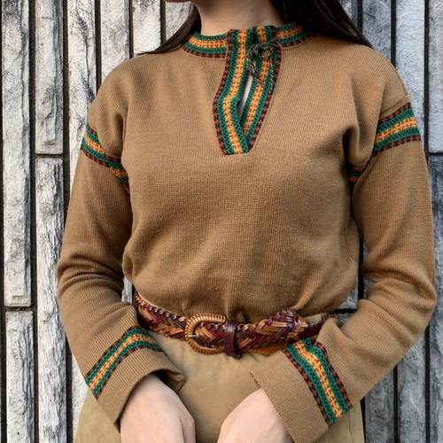 (LOOK) slit neck knit tops