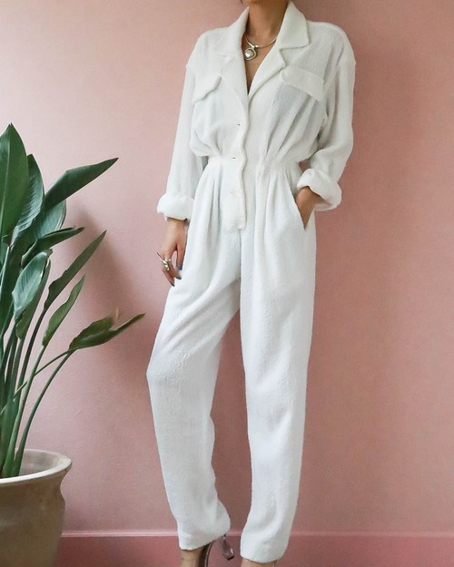 80's DONNA KARAN white all-in-one