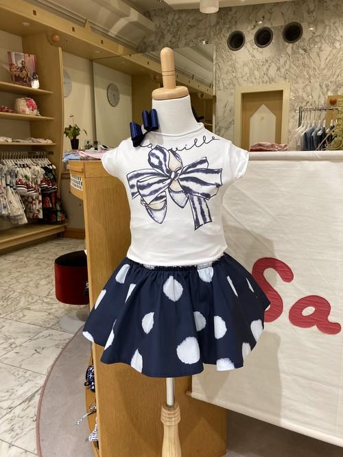 ELSY  シューズリボンプリントTシャツ ホワイト 3才(98cm)~4才(100㎝) エルシー