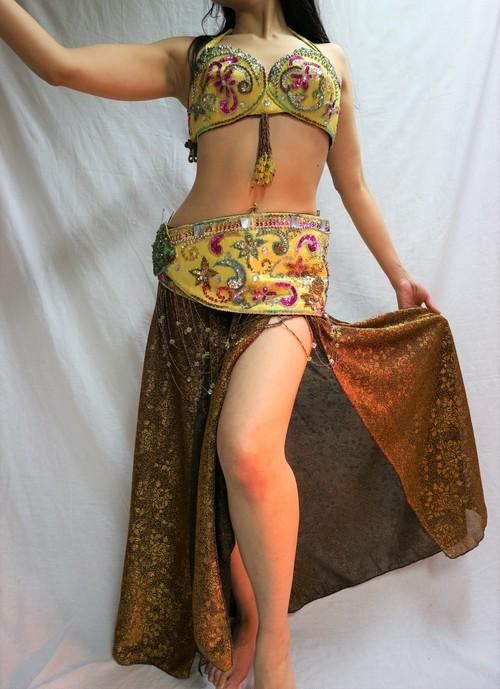 ベリーダンス衣装 ターキッシュスタイル イエロー&ゴールド