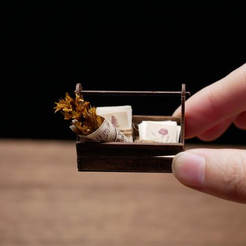 DIY ミニチュア ドールハウス 手作りキット miniature dollhouse kit 木箱③ L-016