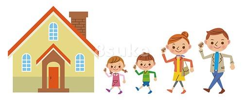 イラスト素材:家に向かう4人家族(ベクター・JPG)