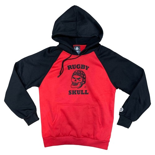 RUGBY SKULL Pullover Hoody Red × Black