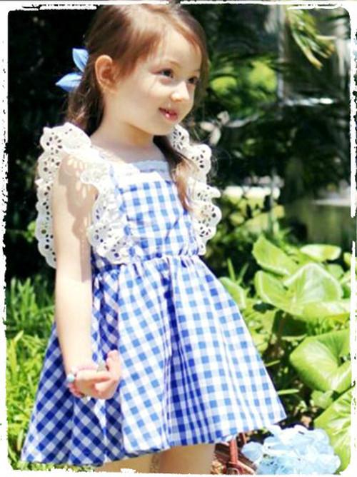 可愛いエプロンワンピース☆ブルー☆サイズ100