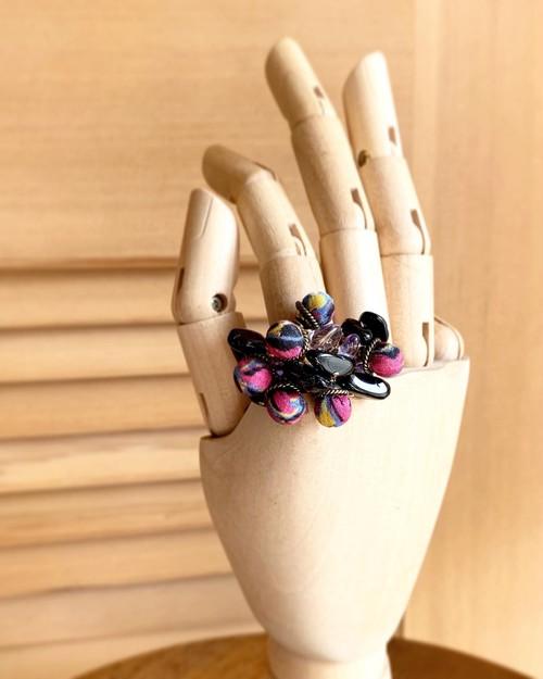 ヴィンテージ着物ジャラジャラリング(紫)