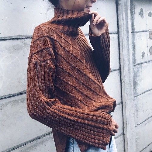 High-Neck Mix Cable Knit