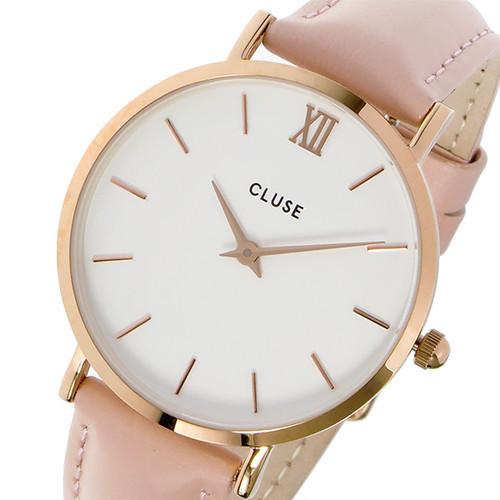 クルース CLUSE ミニュイ レザーベルト 33mm レディース 腕時計 CL30001 CW0101203006 ホワイト/ピンク ホワイト