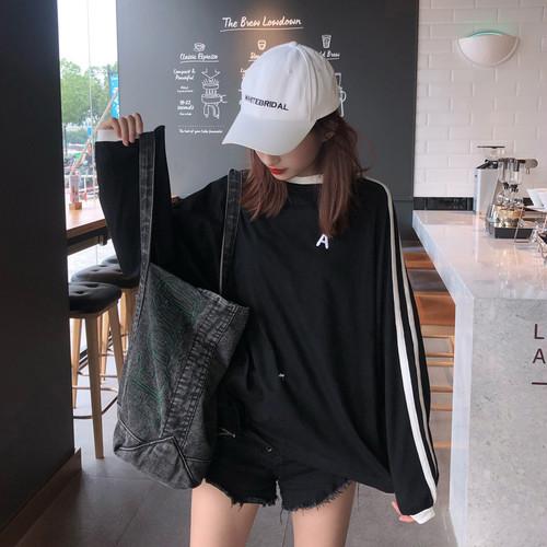 オシャレ カジュアル ラウンドネック 長袖 ストライプ シンプル 韓国ファッション Tシャツ・トップス