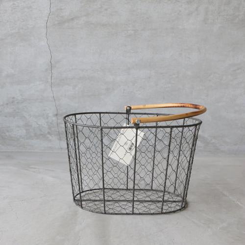 PUEBCO RATTAN HANDLE WIRE BASKET Small(プエブコ ラタンハンドル ワイヤーバスケット S)