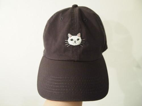 白猫刺繍キャップ【コットン】