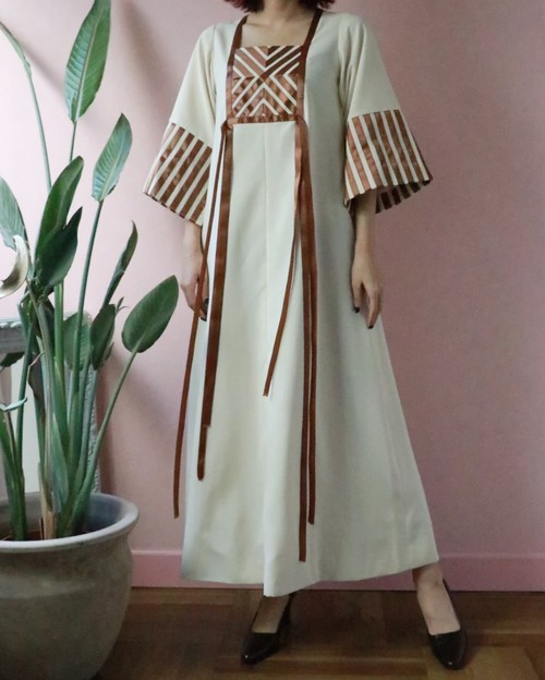 70s off-white + brown long dress