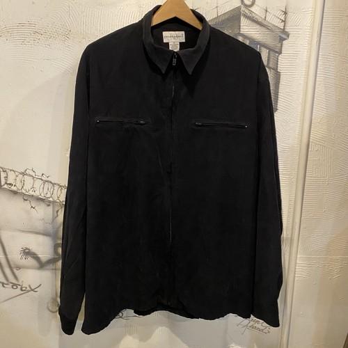 suede zip-up shirt jacket