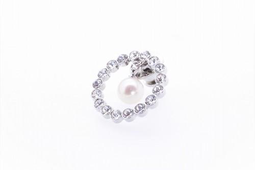 アコヤ真珠 ピンブローチ〈サークル〉シルバーカラー