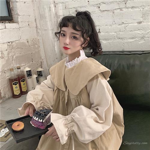 【アウター】秋冬ファッションラウンドカラー切り替え長袖コート