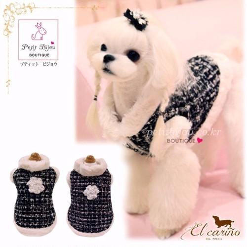 8。Petit Bijou【正規輸入】犬 服 コート ツイード調 秋 冬物