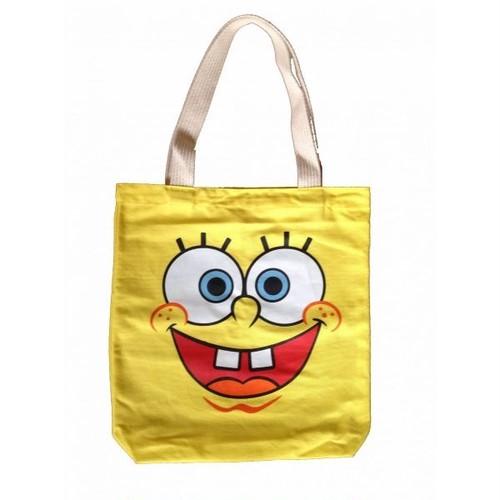 スポンジボブ・スクエアパンツ SpongeBob SquarePants フェイス/顔 プリント トートバッグ(M)