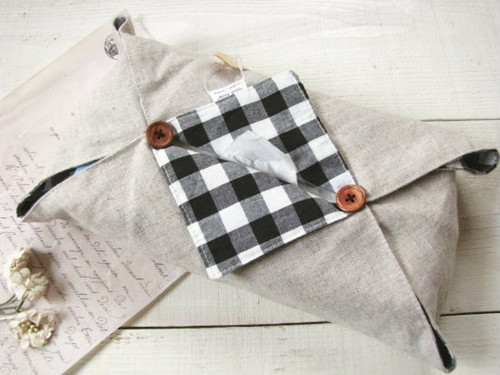 BOXティッシュカバー*リネン・チェック 黒×白/caramel+caramel 型番:71