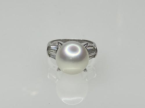 PT900   12ミリパール&ダイヤモンドリング ○