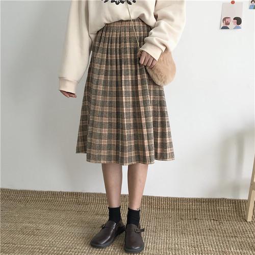 チェック柄  レトロ ヴィンテージ スカート【17239】