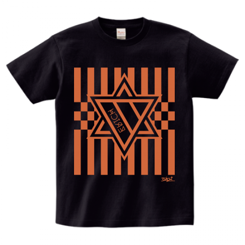 ERICH / HEXAGRAM STRIPE T-SHIRT BLACK x ORANGE